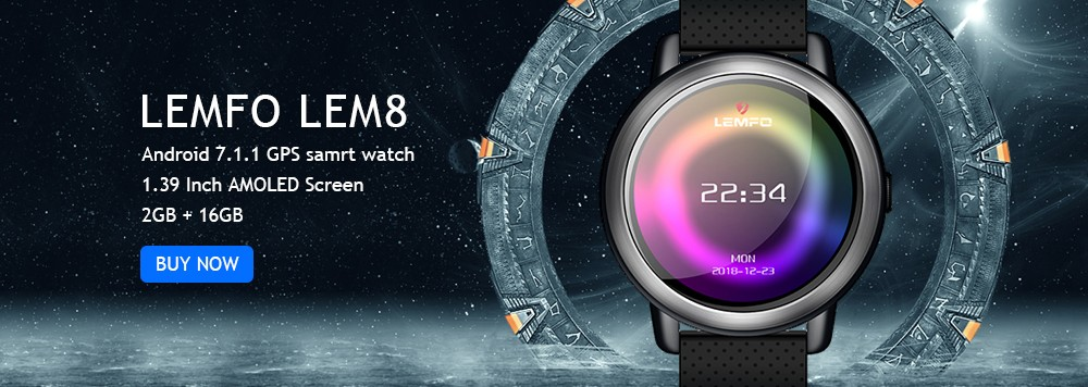 LEMFO LEM8 4G Smart Watch Android 7.1.1 GPS Smartwatch Men 2GB 16GB 580Mah Battery 1.39 Inch AMOLED Screen Sport Watch 1