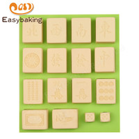 Top Selling Mahjong Shape Silicone Chocolate Mold Fondant Cake Decoratived Mould Jelly Pudding Food Safety Certification of FDA