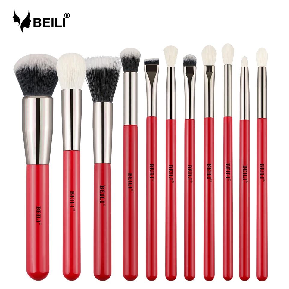 Beili Red 11pcs Professional Makeup Brushes Set Natural Goat Hair