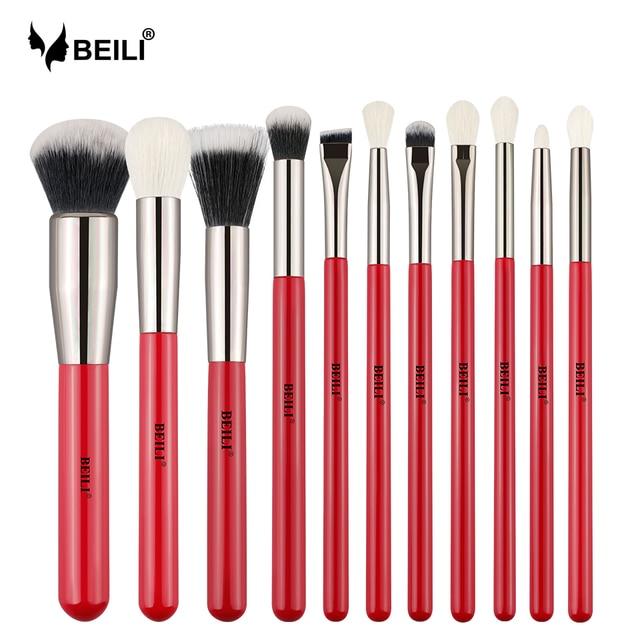Conjunto de pinceles de maquillaje profesional de 11 piezas rojo de BEILI juego de cosméticos naturales para el cabello de cabra sombra de ojos en polvo
