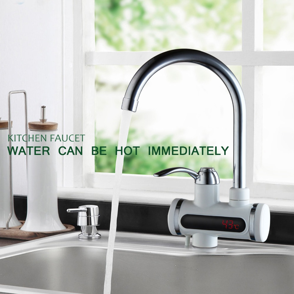 RU Instant Tankless Water Heater with LED Digital Display Electric Water Heater Faucet Mixer Kitchen Water