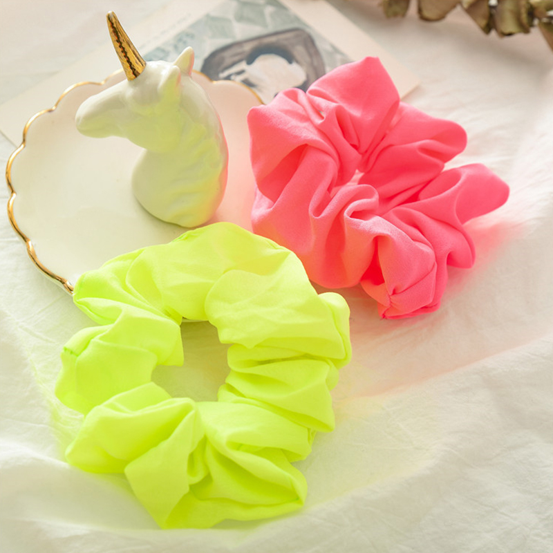 New Fluorescence Women Elastic Hair Bands Solid Color Rubber Hair Tie Scrunchies Girl Ponytail Holder Hair Rope Hair Accessories