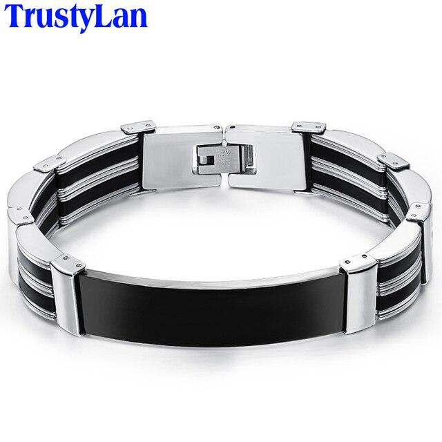 bb05295d95dd TrustyLan pulseras de acero inoxidable para hombre mejor amigos pulsera de  los hombres de alta calidad