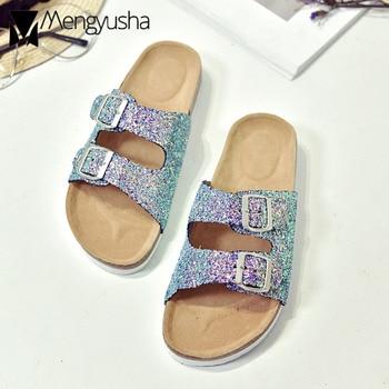 Sandales en liège à deux boucles bling bling pour femme sandales de plage d'été à paillettes feminina à bande étroite tongs pour femme