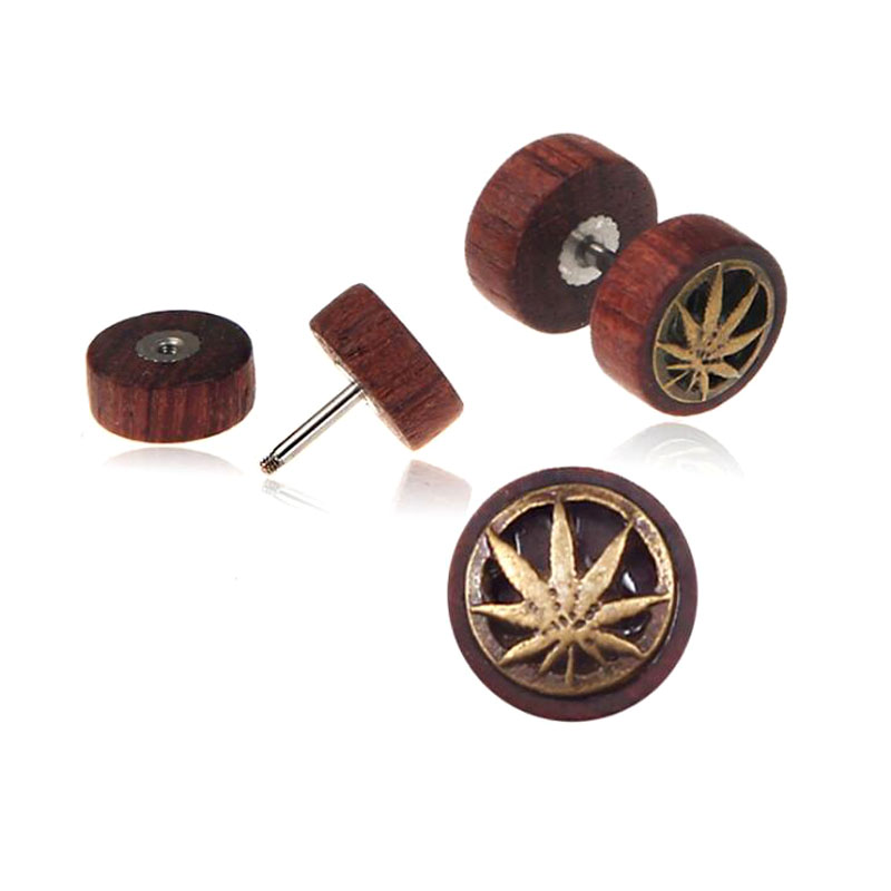 Newest hip hop men women double sided wooden round earrings punk gothic barbell wooden jewelry earring