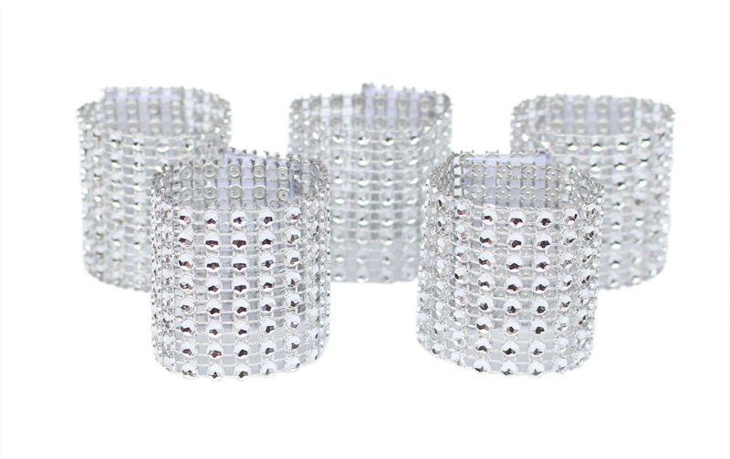100pcs/lot rhinestone napkin rings for wedding table decoration,nickle or rose gold plating