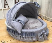 Awning dog bed lace round coral velvet kennel comfortable overall removable and washable