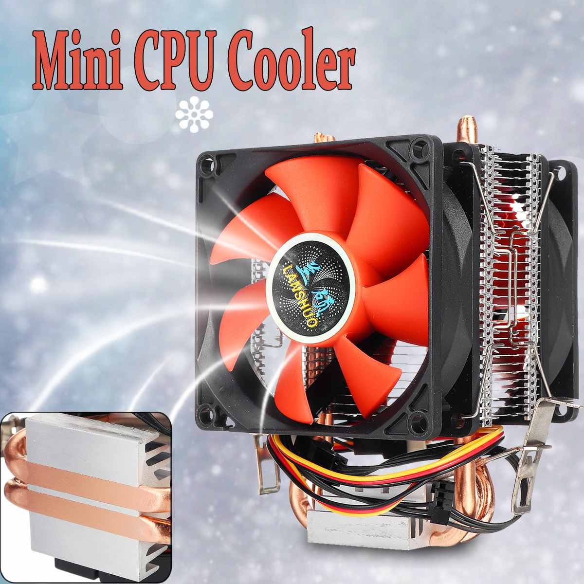 Mini 3pin 2 Heatpipes CPU Cooler Computer PC CPU Cooler Fan Cooling Dual Fan For Intel LGA 775/1150/1151/1155/1156 AMD AM2 AMD3
