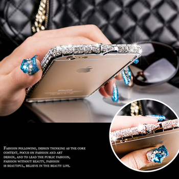 For iPhone X XR XS Max Case Luxury Bling Diamond Bumper For iPhone 11 8 7 6 Plus Case Glitter Rhinestone Snake Inlay Metal Frame 1