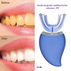 Электрическая зубная щетка синего света u-образная Автоматическая Водонепроницаемая USB перезаряжаемая умная ультра звуковая отбеливающая