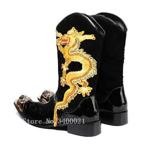 100% QualitäT Echtes Leder Gold Bestickt Drache Totem Männer Mid-kalb Stiefel Military Metall Punkt Cowboy Punk Stiefel High Top