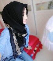 Free Shipping Muslim  Scarf  Pearl  Chiffon  Gold  Long scarf  Hui  Female scarf  Hijab #8140