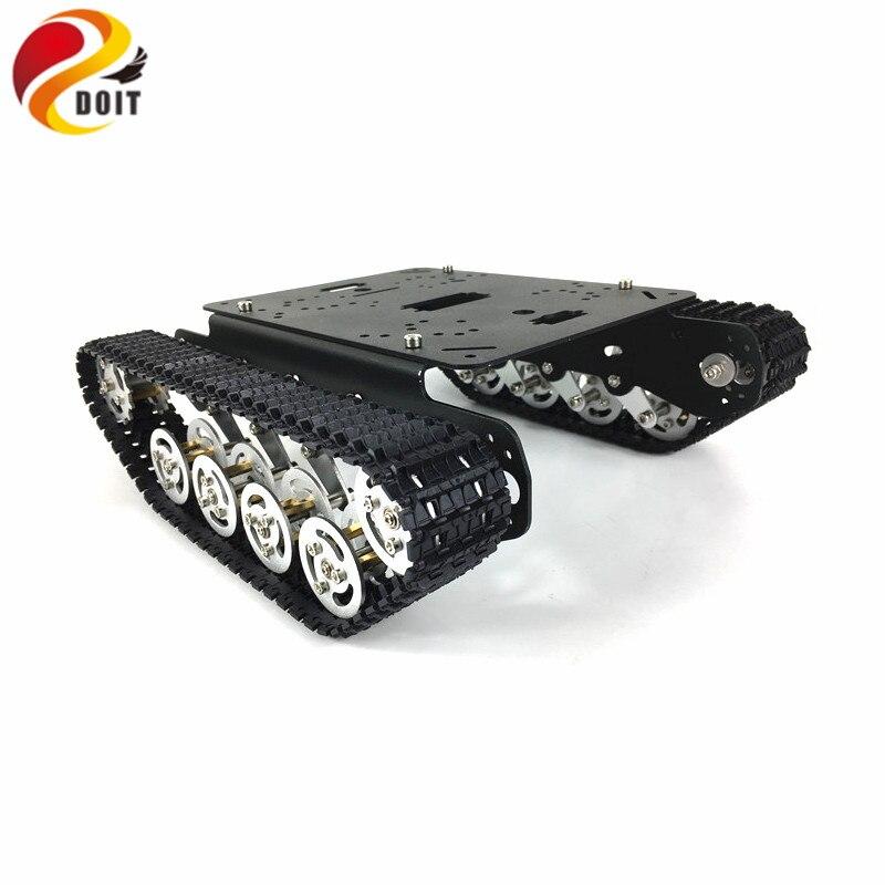 Amortecedor de metal Robot Tank car Chassis úmido amortecimento veículo rastreado rastreador via lagarta para arduino diy rc toy