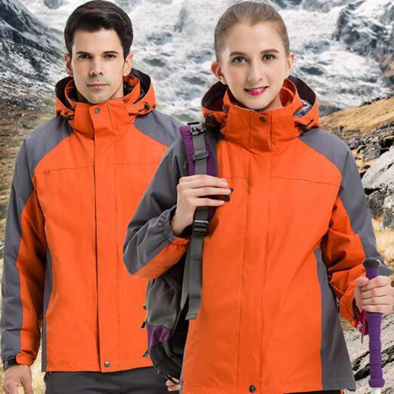 Outdoor Men Women Windbreaker Camping Hiking Hiking Trekking Skiing Jackets Winter Inner Fleece Waterproof Warm Thermal Coat men s winter windbreaker hiking jackets waterproof outerwear sport hoodied camping trekking 2 in 1 warm coats