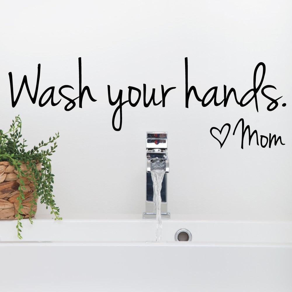 adesivi murali bagno lavarsi le mani love mom citare impermeabile art decalcomania del vinile manifesto bagno
