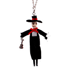 Lovely Hat man Pendant Acrylic Long Chain Dance Necklace Brand Fashion Jewelry For Halloween Skull Doll necklace Accessories