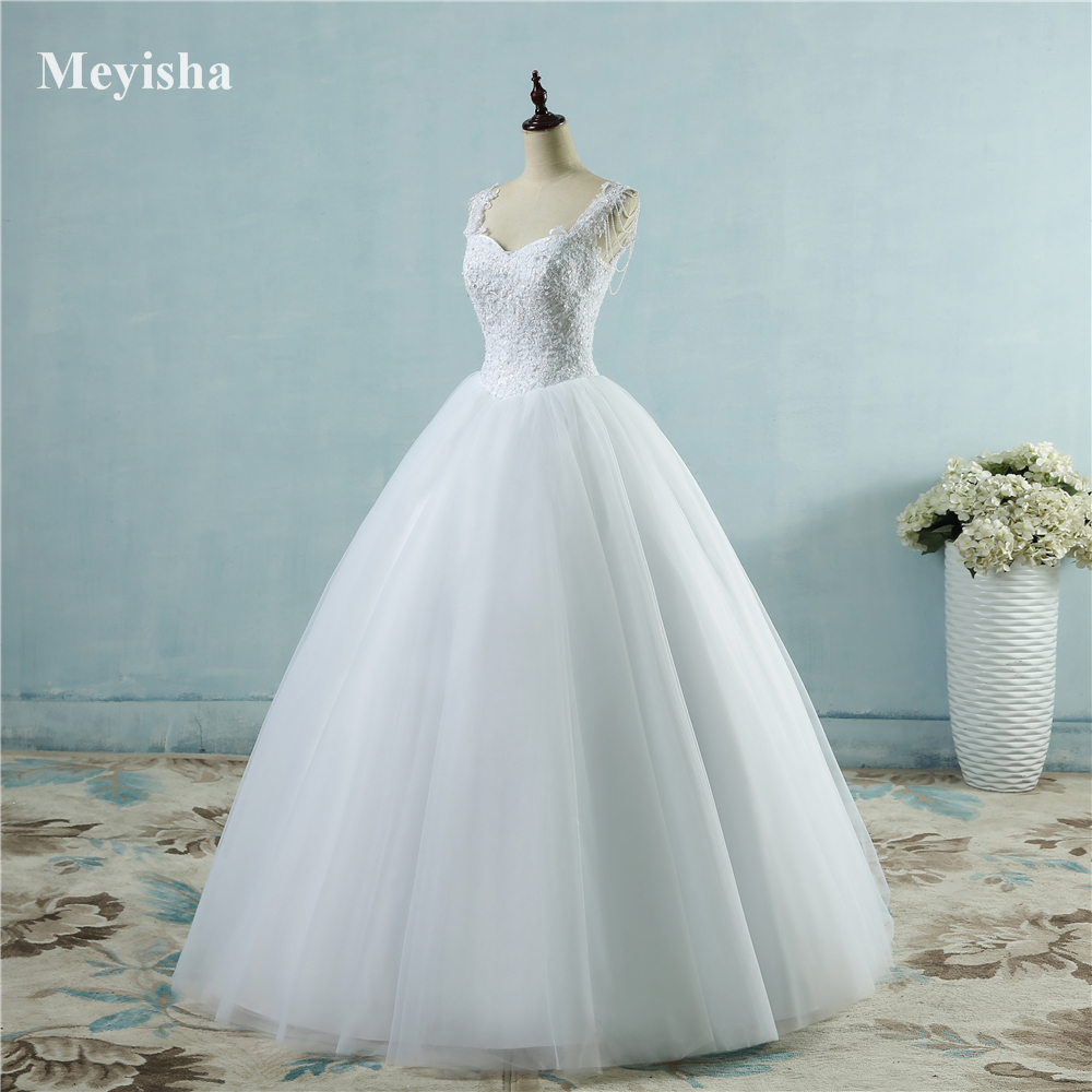 ZJ9082  Ivory White Princess Ball Pretty Lace Pearls Beads Sleeve Two Shoulder 2019 2020 Dresses Wedding Bride Gown Size 2-26W
