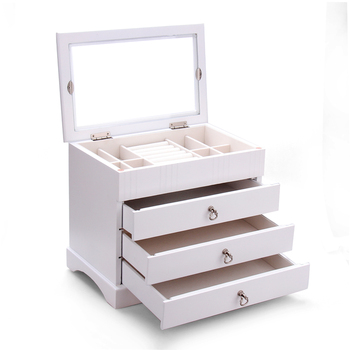 Large Wooden Jewelry Boxes For Girls Rings Glass Top Organizer Earrings Bracelet Storage 3 Drawers