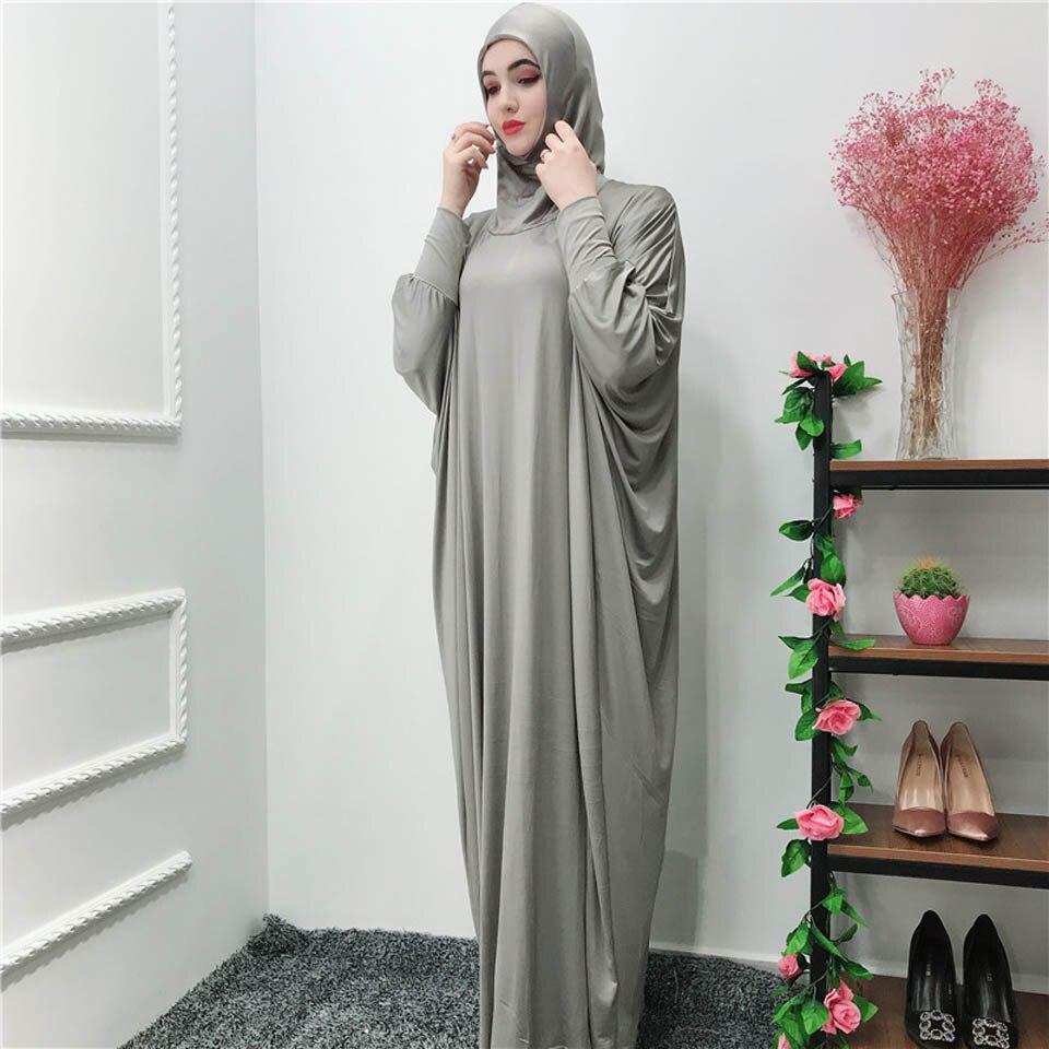Muslim dress fashion solid color prayer dress with a headscarf ramadan and eid hijab dress turkish islamic clothing dubai abaya