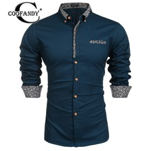 COOFANDY Male Shirts Masculina Clothes Men Slim Fit Turn Down Collar Long Sleeve