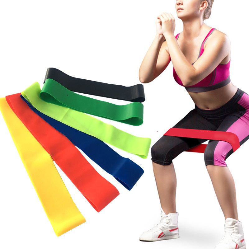 6 Pieces  Yoga Stretch with Leg Elastic Ring Resist Flat Strength Training Latex Resistance