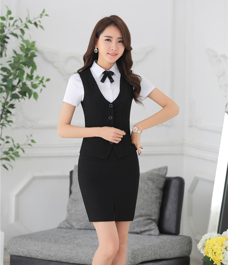 Summer Fashion Office Uniform Designs Women Business Suits with Skirt and Top Sets Black Vest & Waistcoat Ladies Work Outfit