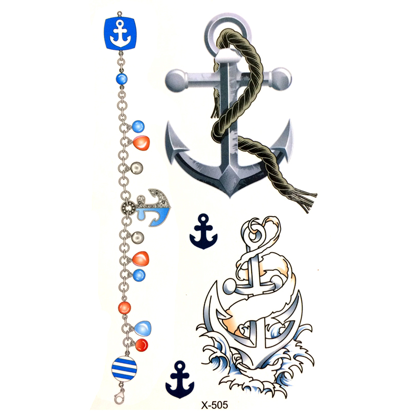 Anchor Henna Tattoo: Beautiful Anchor Bracelet Waterproof Temporary Tattoos Men