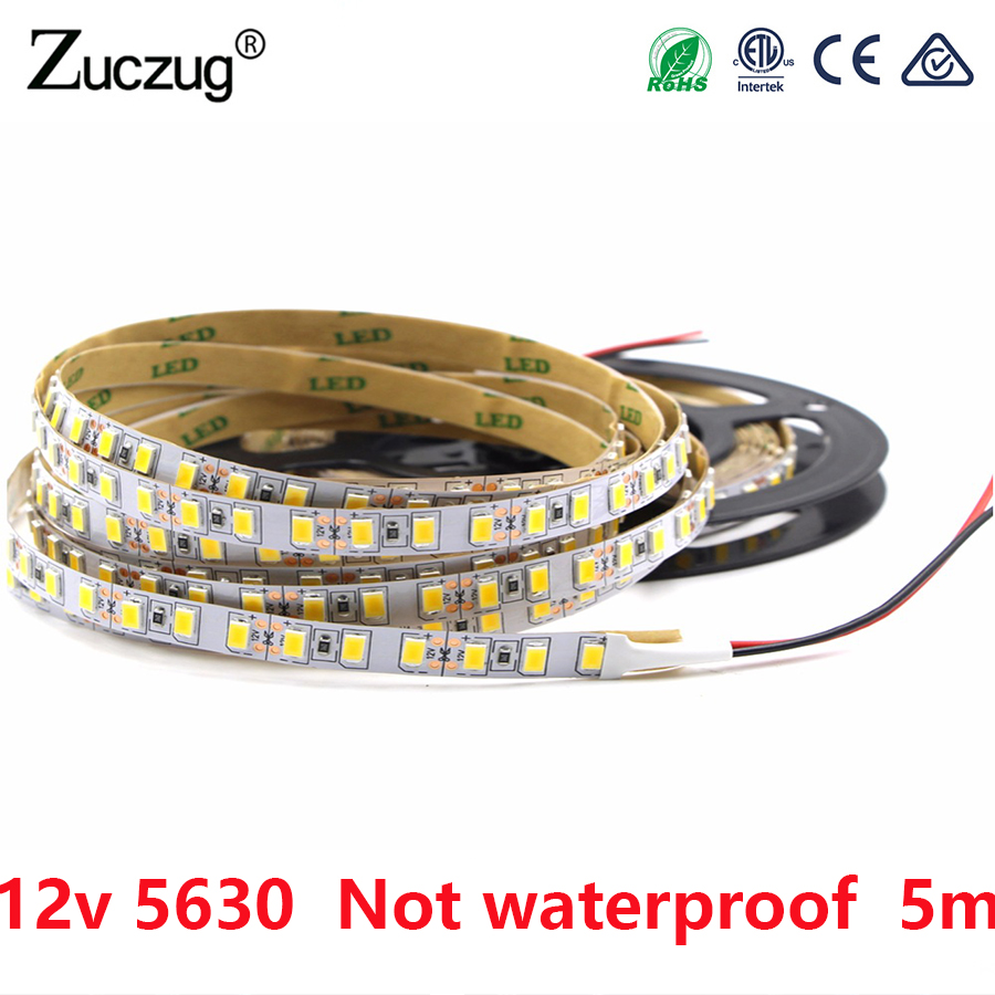 DC 12V LED Strip SMD 5630 Not Waterproof DC 12V 60LEDs/m Warm White 5m LED Strip Flexible Light Tape Lamp Home Diode Ribbon