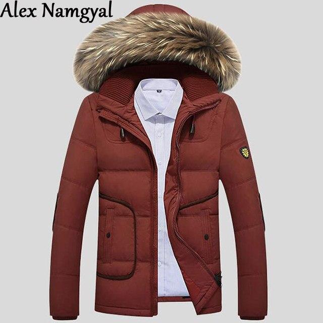 348e6d4049d4f Alexnamgyl nuevos hombres pato Abrigos de plumas chaqueta para hombre  invierno nieve escudo con perro mapache
