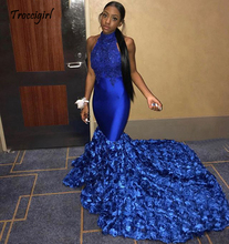 Long Prom Dresses 2019 High Neck Sleeveless Beaded Lace African Black Girl Royal Blue Flowers Satin Backless Dress