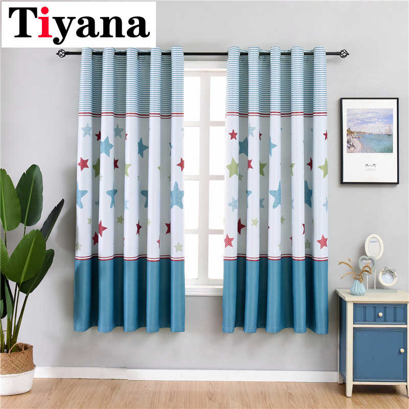 Cartoon Printed Star Stitching Curtain Short Curtains Drapes Semi-Shading Window Panel For Children Room Bedroom PC11X