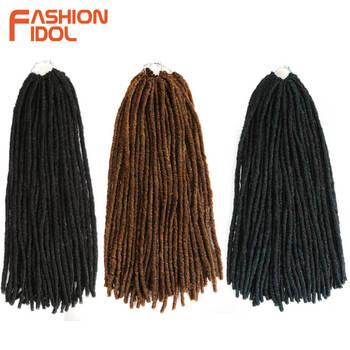 แฟชั่น IDOL Dreadlocks ถักเปียผมสังเคราะห์ Dreads Crochet Braiding Hair Extension สีน้ำตาลโครเชต์ Braids 24 นิ้ว Faux Locs ผม