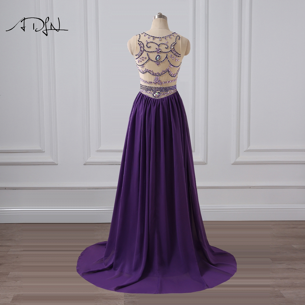 ADLN O neck Purple Evening Dress Sparkling Crystal Prom Party Gown Long  Chiffon Plus Size Formal Occasion Wear Robe de Soiree-in Evening Dresses  from ... e653c838b9c4