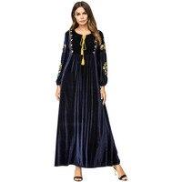 2018 Korean Velvet Embroidery Blue Long Sleeve Muslim Dress Plus Size Dresses Drop Shipping