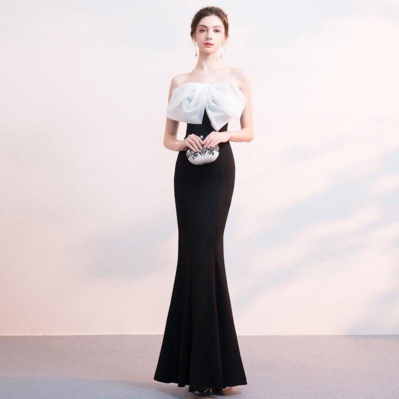 Date Pour Longue Soirées Gratuating Femme Proms B641 Gala Habille Soirée 2018 Noir Arc Bretelles De Cérémonie Élégante Patchwork Robe qwXv6f76