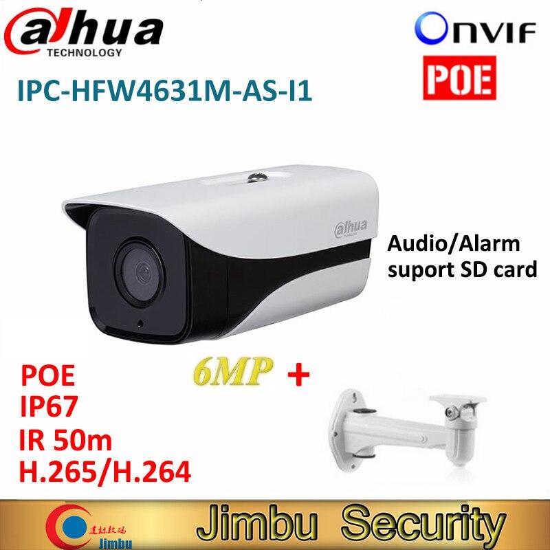 Dahua IPC-HFW4631M-AS-I1 6MP H.265 Full HD Network IR Mini Camera POE cctv network bullet IPcamera with bracket dahua ipc hfw4431m as i2 4mp h 265 camera full hd network ir mini bullet network camera support poe with free bracket