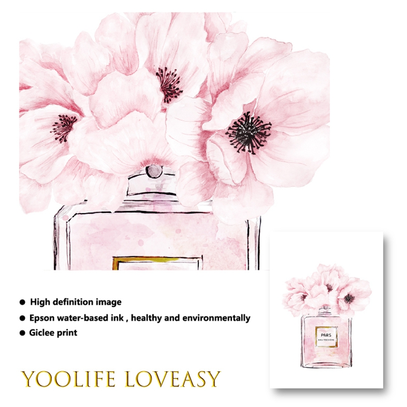 HTB1tHbyelWD3KVjSZFsq6AqkpXaB Fashion Book Perfume Bottle Posters Wall Art Canvas Painting Watercolor Flowers Vogue Pictures Prints for Living Room Home Decor