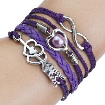 9 Color 2017 New Fashion Love Leather Bracelet Bead Heart Arrow Bracelets for Women Man High Quality Bracelet Best Birthday Gift 1
