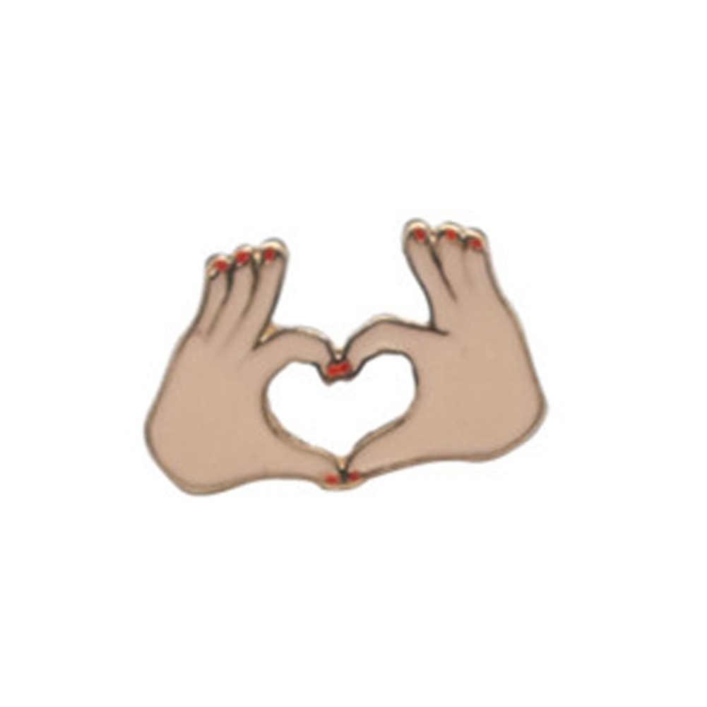 Harajuku Paduan Enamel Merah Muda Anggur Kaca Cangkir Botol Jantung Tangan Mawar Kucing Broche Lencana Kelapak Pins Aman Brooche Syal Wanita hadiah