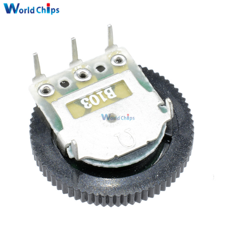 US $0 29 13% OFF|10PCS B103 10K Ohm 3 Pin Single Linear Dial Wheel  Potentiometer 16MM x 2MM-in Integrated Circuits from Electronic Components  &