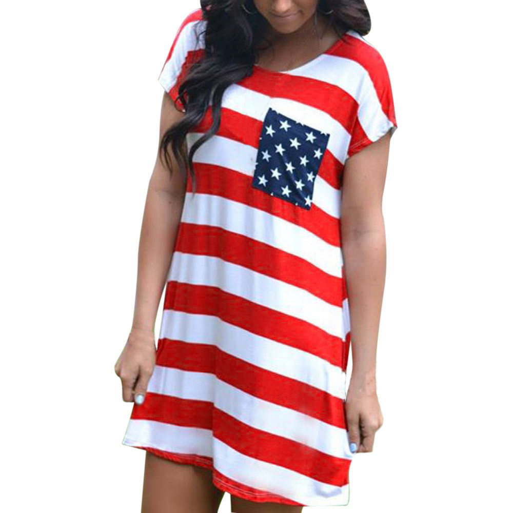 NEW Arrival Women's Print American Flag Dress Sexy Short Sleeve Mini Dress Summer Female Daily Dress XXL