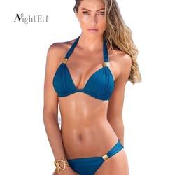 Night Elf Bikini Push Up 2018 Women Blue Halter Bikini Set XXL Plus Size Swimwear Women Sexy Swimsuit Beach Brazilian Bikini