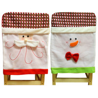 Christmas Santa Claus Chair Back Cover Snowman Print Dinner Table Party Decor