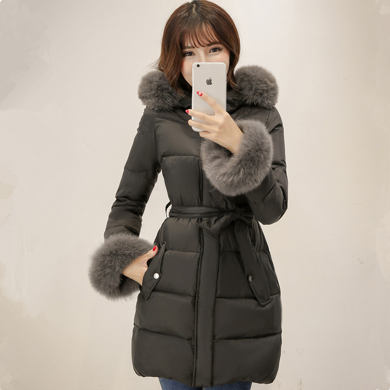 2017 New Korean women plus size female down jacket girls big fox fur collar coat thick tide long slim outwear parkas MZ959 2017 winter new clothes to overcome the coat of women in the long reed rabbit hair fur fur coat fox raccoon fur collar