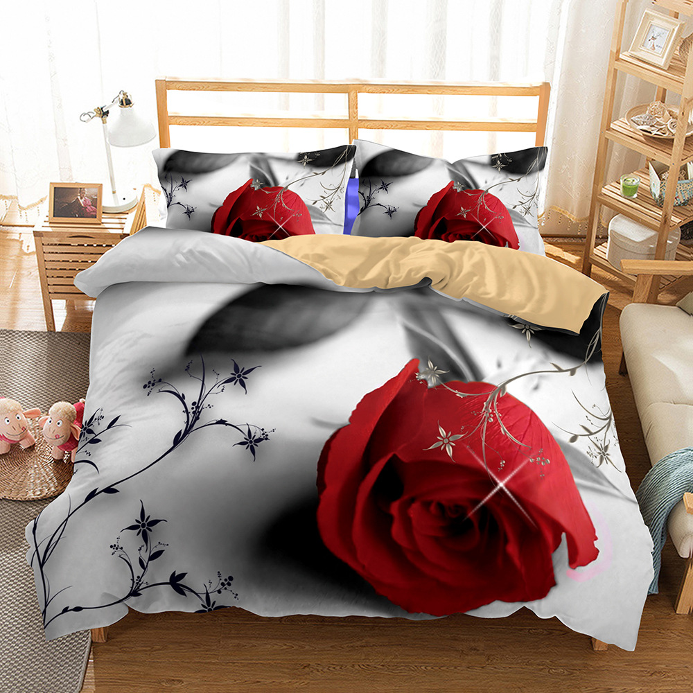 New 3D Blue Goblin Roses Cloves Flowers Duvet Cover 2/3pcs European American Family student dormitory Quilt cover pillowcaseNew 3D Blue Goblin Roses Cloves Flowers Duvet Cover 2/3pcs European American Family student dormitory Quilt cover pillowcase