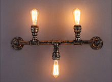 Water Pipe Retro Loft Industrial Vintage Wall Lamp With 3 Lights Fixture LED Stair Light Edison