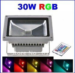 30W RGB Color Changing LED Flood Light garden outdoor lighting Floodlight Waterproof IP65 +Remote Control by Express 1pcs/lot