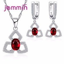 Jemmin High Quality Women Ruby Pendants Necklaces And Earring Set For Engagement Fine 925 Silver Bridal Wedding Jewelry Sets