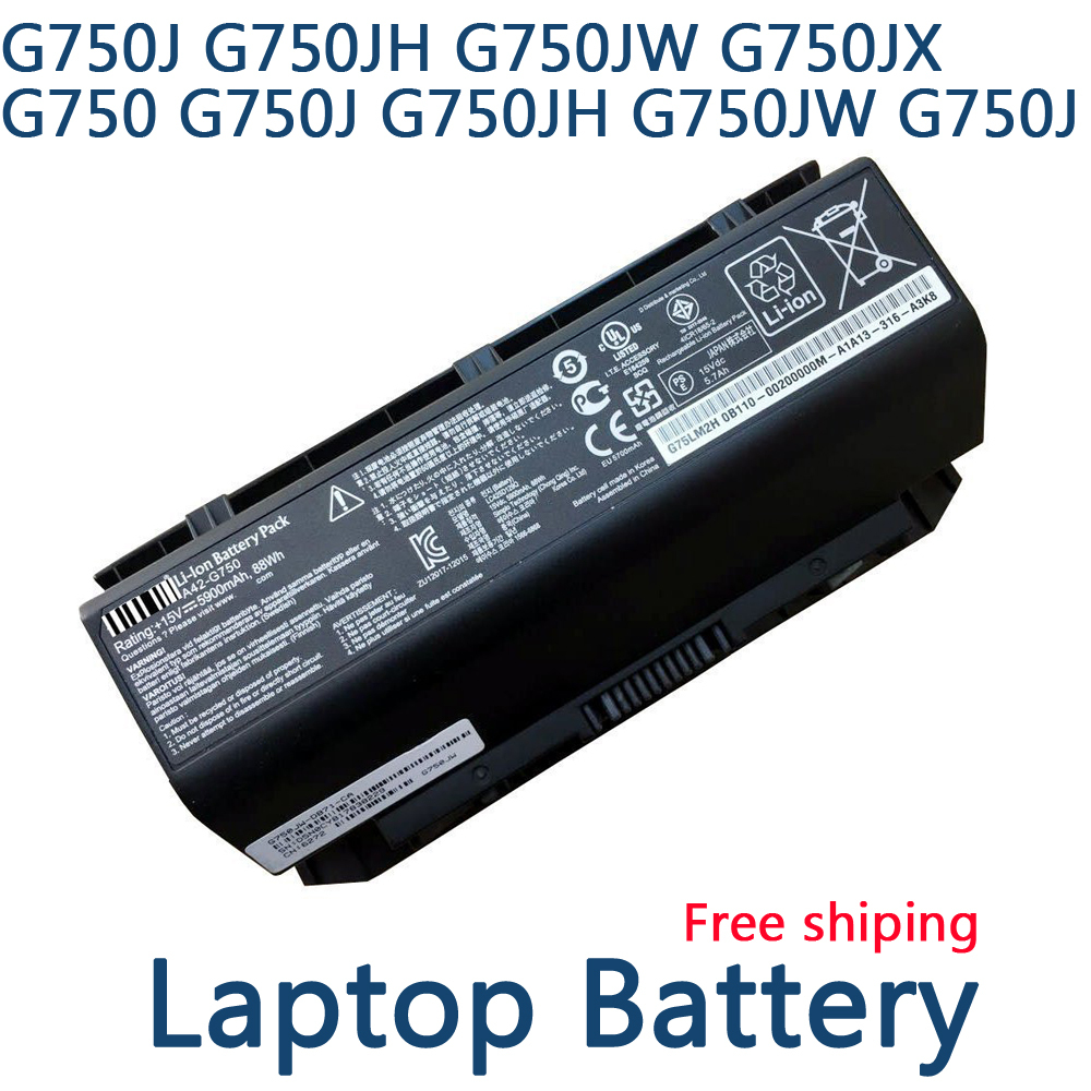 A42-G750 laptop battery for Asus G750 Series G750JS G750JX G750JH G750JS-T4064H G750JZ Free shipping free shipping new 15 2v 64wh genuine b41n1341 battery for asus asus q502l q502la series laptop