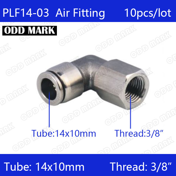 Free shipping 10pcs/lot 14mm to 3/8 PLF14-03,304 Stainless Steel Elbow Feale Connector free shipping 10pcs lot type 4mm to m6 female thread elbow pneumatic pu hose gas connector 90 degree plf 4 m6